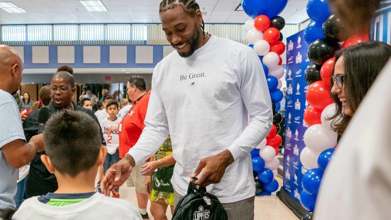 NBA Star Kahwi Leonard Donates 1 Million Backpacks To L.A. Students