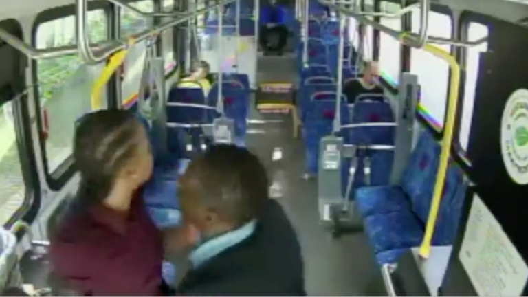 A Bus Driver and Passenger Get into a Violent Altercation Caught on Security Camera