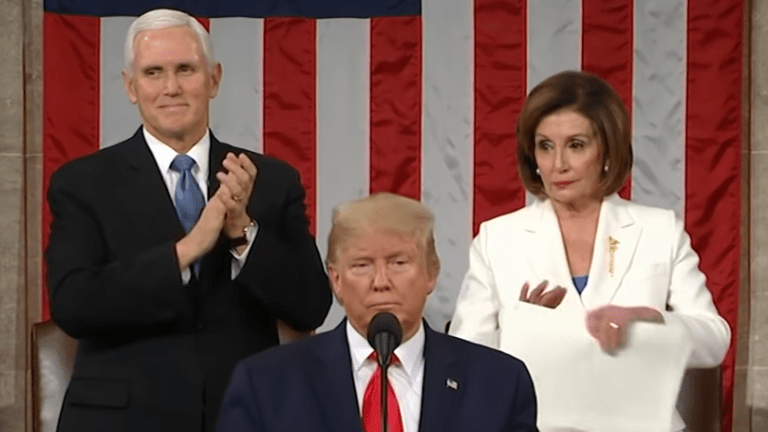 Pelosi tears up Trump speech at State of the Union